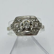 Art Deco Diamant Ring Weiß - Gold 750 & Platin ca. 0,22 ct Gr.55 France ~ 1920