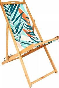 John Lewis & Partners Palm Leaf Deckchair Sling, Green