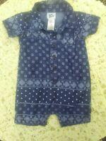 Vintage Oshkosh Bgosh Baby  Romper 0-3  Mo Boy Shortall