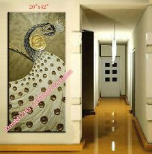 """20*42""""Hand painted Oil Canvas Wall Art home Decor Peafowl PEACOCK NO Frame Y739B"""