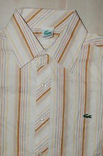NWOT Vintage Men Lacoste Casual L/S Button Front Shirt Size Large Tan / Brown