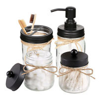 Mason Jar Bathroom Accessories Soap Dispenser&Qtip Holder Set&Toothbrush Holder