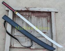 "38"" High Carbon Steel Custom Hand Made Japanese Katana With Leather Sheath"