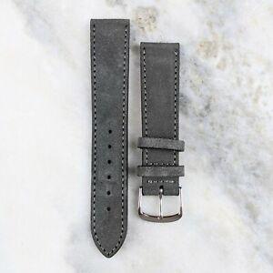 Suede Leather Watch Strap - Dark Grey - 18mm