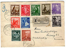 italy 1938 imperium set SC# 400/409 on registered letter to germany nice cancels