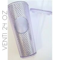 NWT Starbucks 2019 Venti 24 Oz Platinum Studded Faceted Clear Crystal Cold Cup