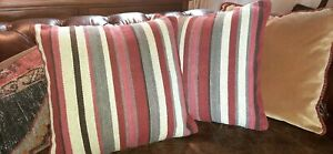 Pottery Barn Pillow Covers Serape Stripe - Red Wool Kilim Tribal Pillows - Pair