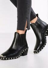 NWB TOPSHOP Alana  Black Leather Square Toe  Stud Ankle Bootie Sz 39