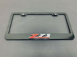 1x Z71 3D Emblem BLACK Stainless License Plate Frame RUST FREE + Screw Cap