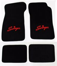New! Black Carpet Floor Mats 1967-1976 Dodge Dart Swinger Logo Red Set 4