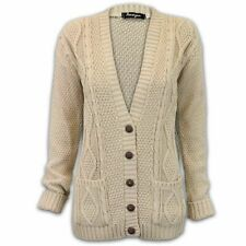 Ladies Cardigan Womens Knitted Jumper Cable Jacquard Boyfriend Chunky Winter S/M