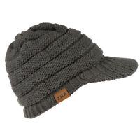 Women Men's Outdoor Warm Hat with Visor Winter Thick Knit Peaked Beanie Cap
