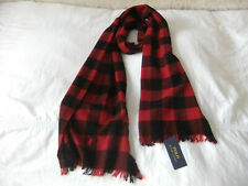 MEN'S POLO RALPH LAUREN SCARF RECYCLED CASHMERE BLACK+RED CHECK VINTAGE PLAIDS