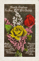 PC27887 Hearty Greetings for Your 21st Birthday. Roses. No 6478. RP. 1935