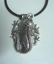 10 pcs Silver tone Lizard Iguana Chameleon Pendant 50cm black rubber Necklace