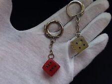 VINTAGE DICE KEYHOLDERS 2 pcs PLASTIC DICE Keychains