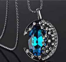 Women Crystal Moon Retro Long BLUE Pendant Sweater Chain Necklace Jewelry GIFT