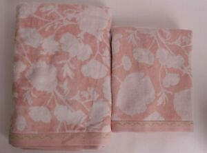 set/2 Pottery Barn Kids Monique Lhuillier Floral bath & hand towels, pink blush