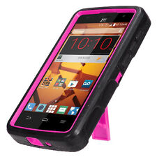 For ZTE N817 Black Pink Heavy Duty Stand Phone Cases