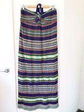 MISSONI Size 14 Blue Multicoloured Striped Knit Halter Maxi Dress