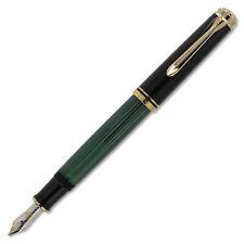 Pelikan Souveran M600 Fountain Pen - Black & Green Gold Trim - Fine Point