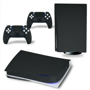 Carbon Fiber Playstation 5 Skin Vinyl Stickers For PS 5 Disk Console Controllers