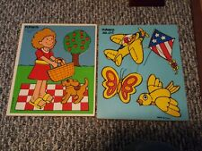 PICNIC w/ DOG and THINGS THAT FLY wooden puzzle Playskool preschool tray 1980s