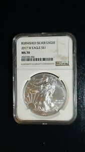RARE 2017 W NGC MS70 BURNISHED AMERICAN SILVER EAGLE $1 COIN Start At 99 Cents!