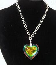 Vintage  Swarovski Crystal  Rivoli Large Heart Pendant Necklace