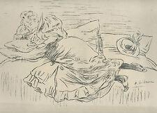 "gravure lithographie originale, Edouard Crébassa Croquis.L""Epreuve""1895"