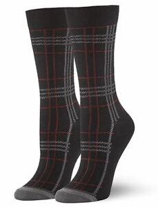 HUE Women's Fashion Plaid Crew Socks, Black, One Size