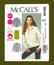Womens Shirts Sewing Pattern~Cup Size Variations (Plus Sz 18W-24W) McCalls 6436