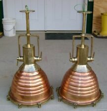 Vintage Copper & Brass Wiska Pendant Beehive Lights - Set of Two