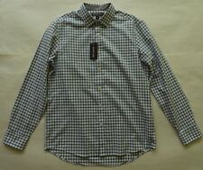 Michael Kors Classic Fit White Teal Bluegreen Brown Checks LS Casual Shirt Siz M