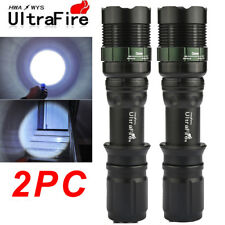 2x 15000LM Tactical ZOOM Police T6 LED Super Bright 18650 Flashlight Torch US