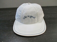 Life Is Good Hat Cap White Blue Youth Fitted Large Jake Kids Boys
