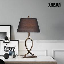NEW Vintage Table Desk Bedside Lamp Fabric Shade Metal Base Modern-ORB Bronze