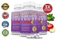Ultra Fast Pure Keto Boost Max 1200MG Ketogenic Supplement BHB Weight Loss 3 PK