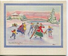 New listing VINTAGE CHRISTMAS VICTORIAN ICE SKATING SKATERS POND GAZEBO DOG  GREETING CARD