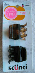 2 Scunci No Slip Grip All Day Hold Jaw Hair Clips Brown Black Plastic Claw Stay