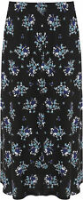 Womens Plus Elasticated Waist Skirt Ladies Stretch Floral Print Midi Long 16-30 Black Blue 28-30
