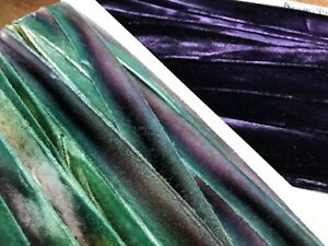 """Hand Dyed Velvet 7/8"""" Rayon 1yd on the Bias Edging Trim Ribbon Made in USA"""