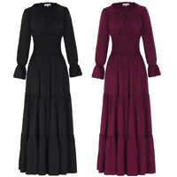 Retro Vintage Style 50s Long Sleeve Peasant Victorian Evening Party Maxi Dress