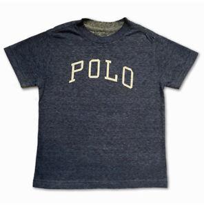 New Polo Ralph Lauren Short Sleeve T Shirt Top Navy Blue Marl Logo Age 4