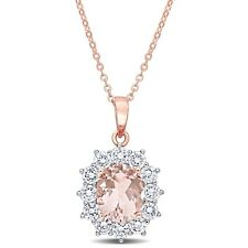 Amour Rose Plated Sterling Silver Cubic Zirconia Simulated Morganite Necklace