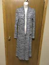White House Black Market Long Open Front Cardigan SWEATER size S Gray Duster H88