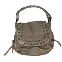 Steven by Steve Madden Taupe Studded Leather Shoulder Satchel Hobo Bag