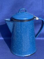 Vintage Blue Enamelware Speckled 6 Cup COLEMAN STOVE Percolator Coffee ❤️sj14m2