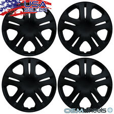 "4 NEW OEM MATTE BLACK 15"" HUBCAPS FITS HYUNDAI SUV CAR CENTER WHEEL COVERS SET"