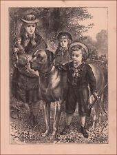 Boy Goes Hunting With Pellet Gun, Mastiff Dog And Sisters, antique original 1888